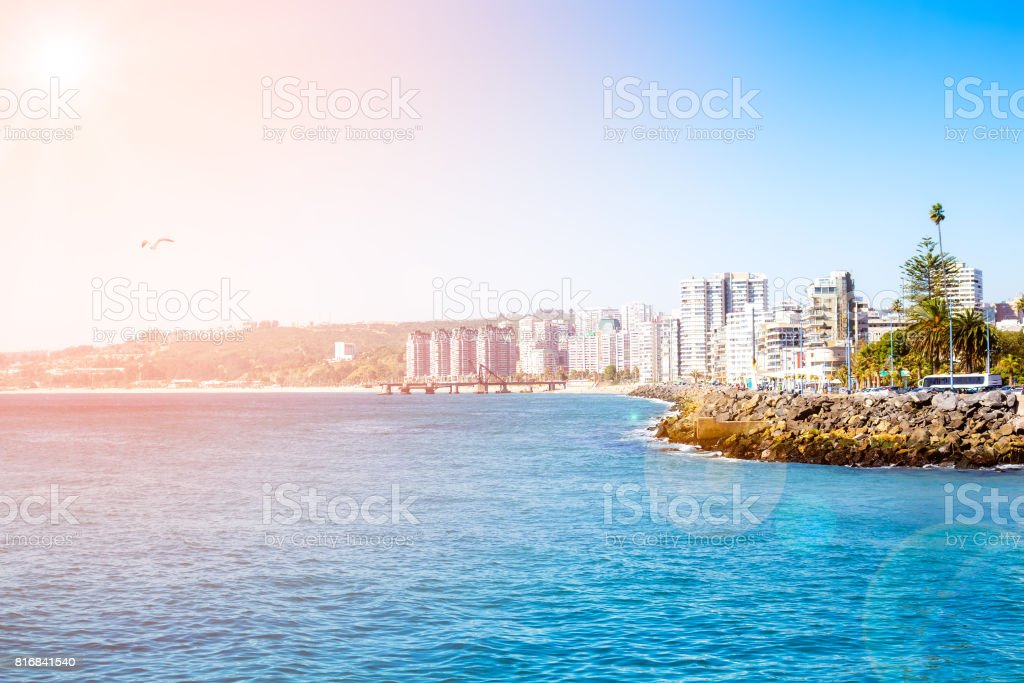 View to the lagoon in Vina del Mar, Chile stock photo