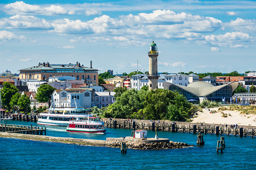 View to the lighthouse in Warnemuende, Germany