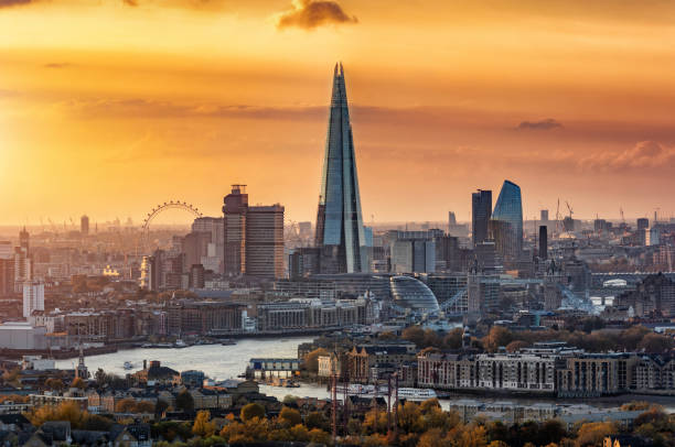 View to the modern skyline of London, United Kingdom stock photo