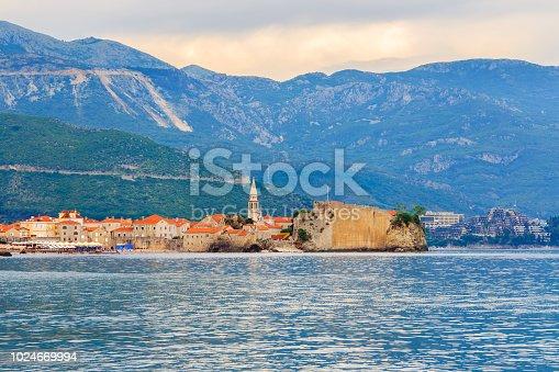 istock View to the old city Budva on Adriatic sea coastline at Montenegro. summer seascape background 1024669994