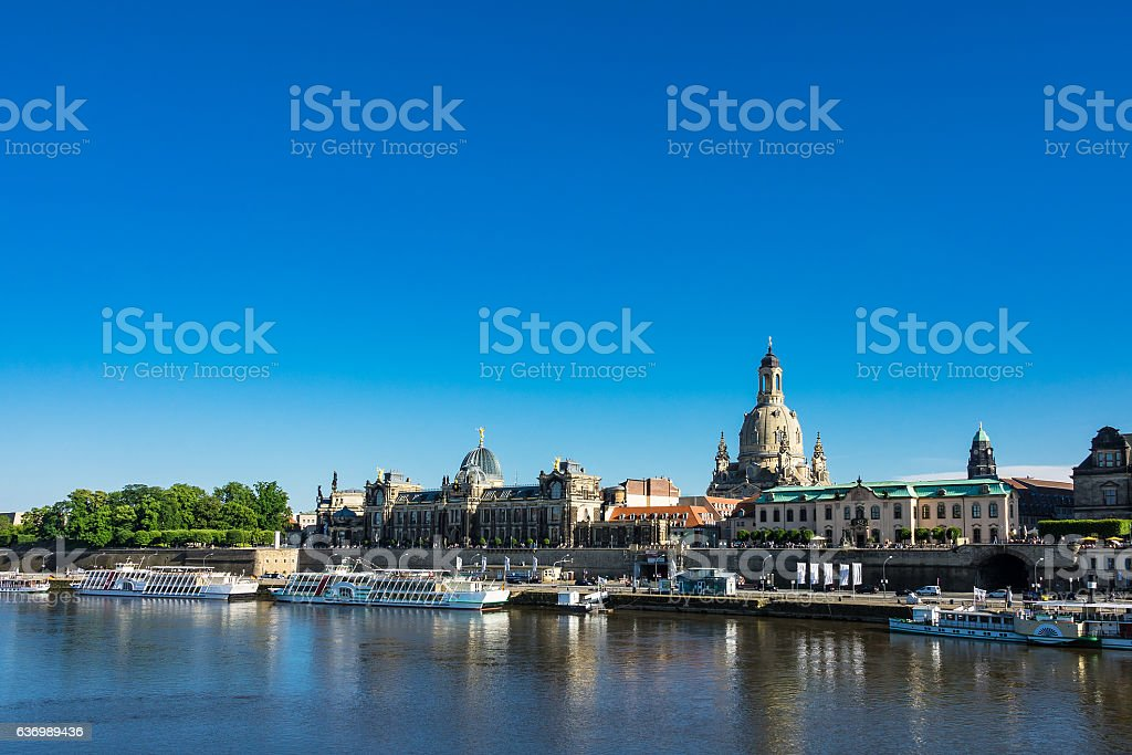 View to the old town of Dresden, Germany stock photo