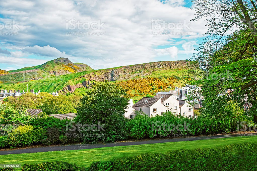 View to the Old Town of Edinburgh in Scotland stock photo