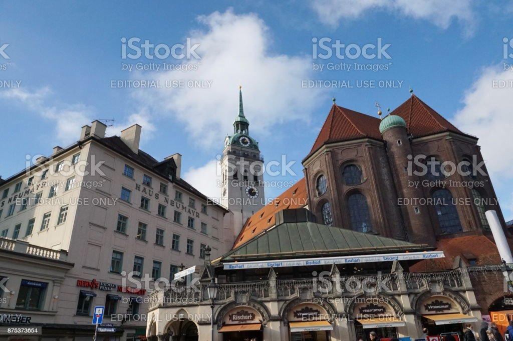 View to the parish church of St. Peter from the viktualienmarket. Munich, Bavaria. stock photo
