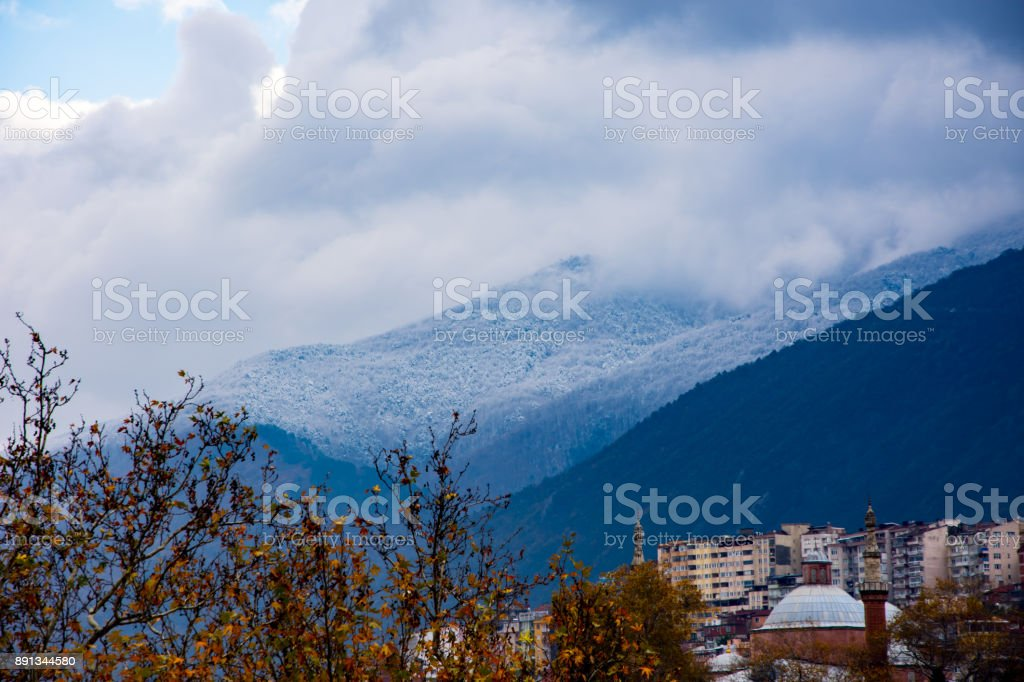 view to the part of city and Great mountain  in Bursa stock photo