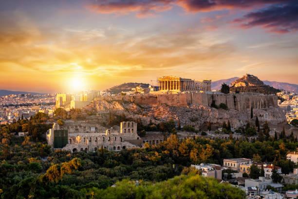 Blick auf den Parthenon-Tempel auf die Akropolis von Athen, Griechenland – Foto