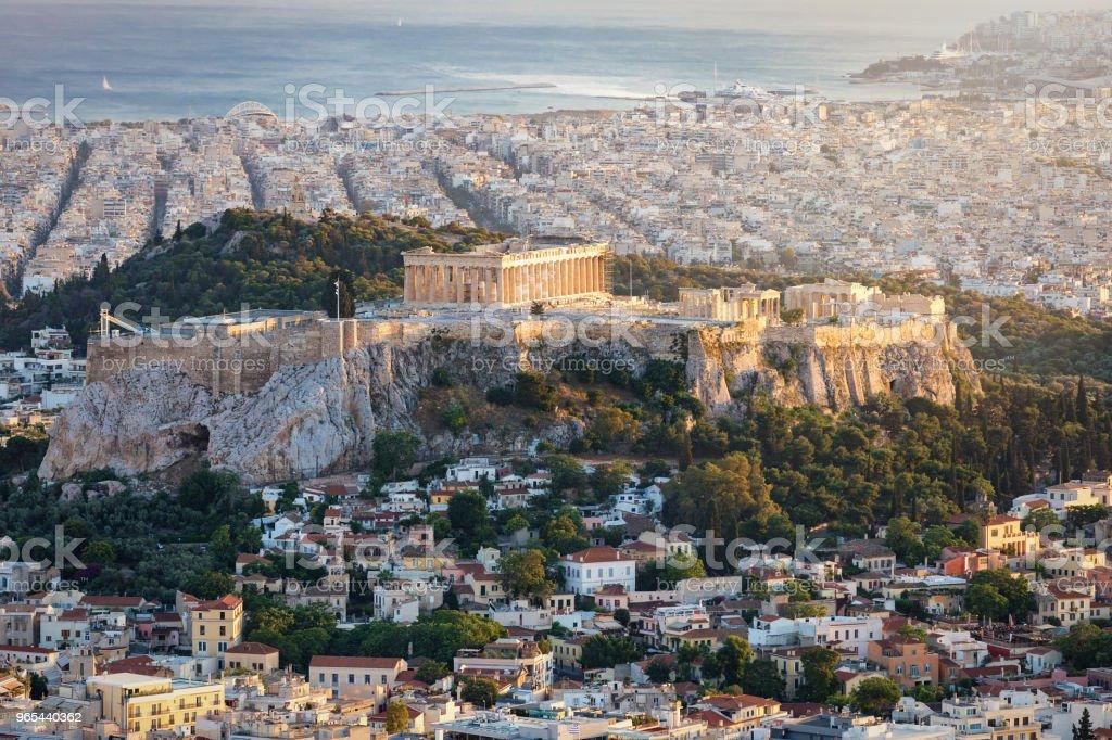 Blick auf den Parthenon-Tempel auf der Akropolis von Athen - Lizenzfrei Abenddämmerung Stock-Foto
