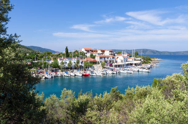 View to the picturesque little harbor of Steni Vala village, Alonnisos island, Greece stock photo
