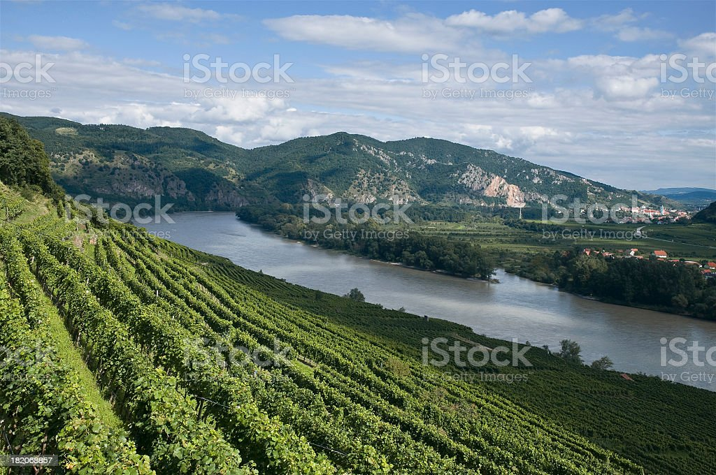 View to the river Danube and the old city Dürnstein (Austria). royalty-free stock photo