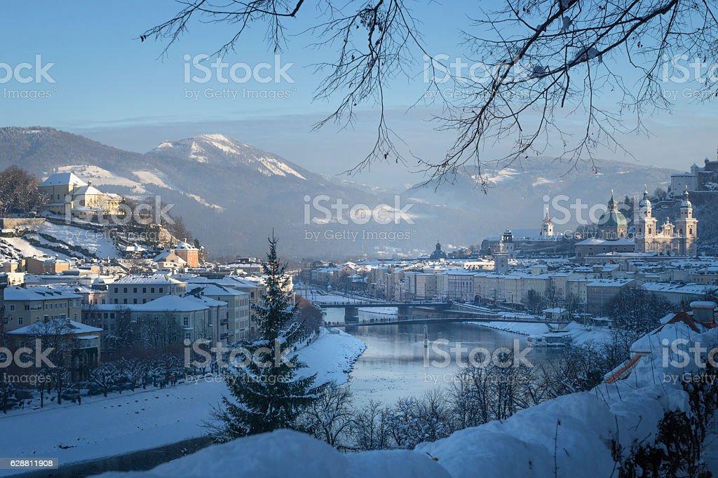 View to the Salzach from Moenchsberg, Salzburg, Austria stock photo
