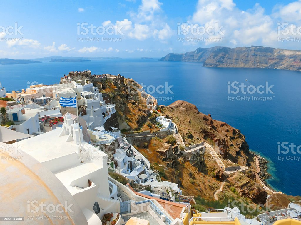 View to the sea from Oia village of Santorini island royalty-free stock photo