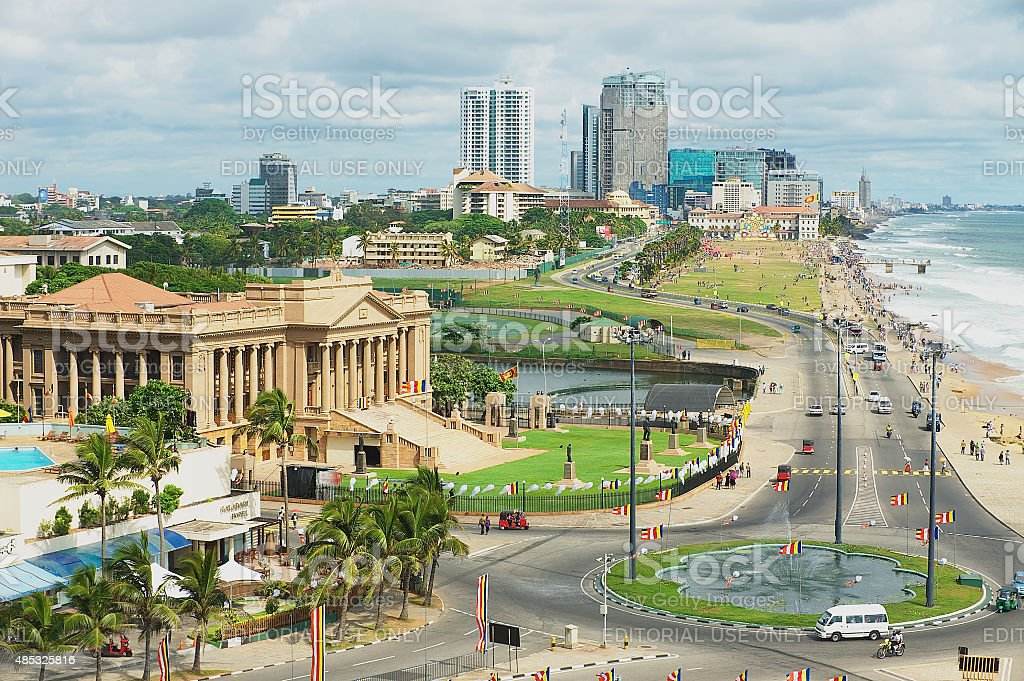 View to the seaside road in downtown Colombo, Sri Lanka. stock photo