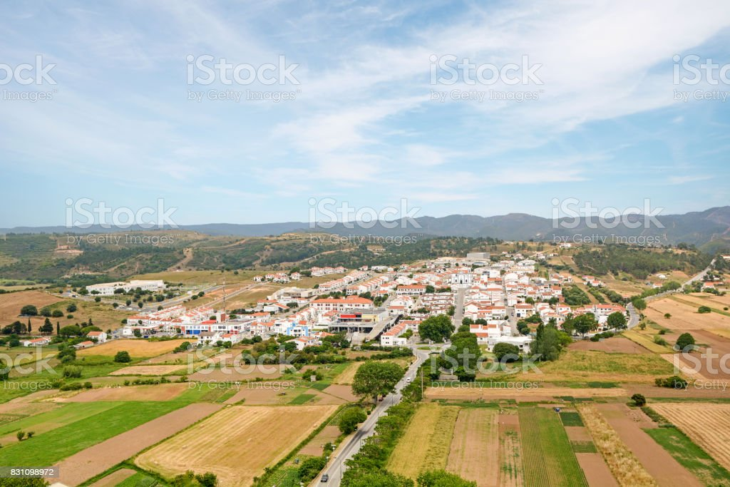 View to the small town of Aljezur with traditional portuguese houses and rural landscape, Algarve Portugal stock photo
