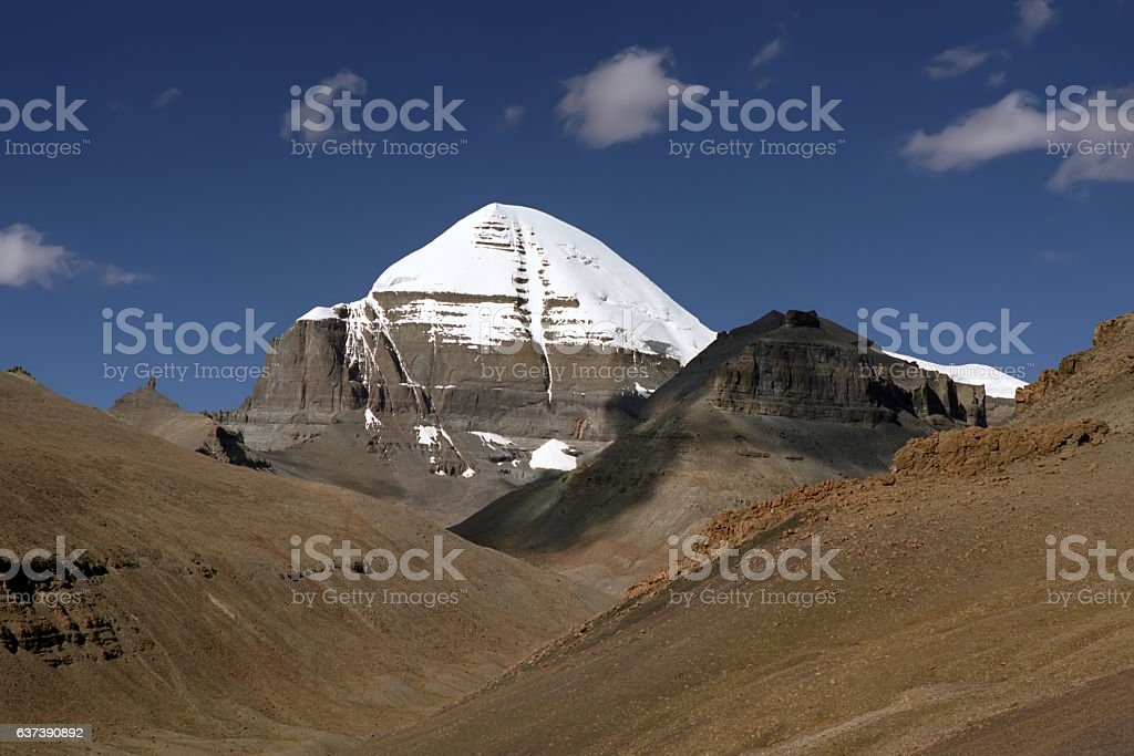 View to the South Face of sacred Mount Kailash. stock photo