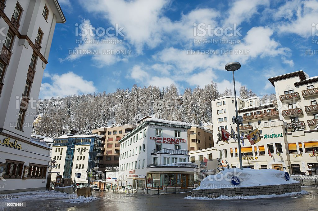 View to the street of St. Moritz, Switzerland. stock photo