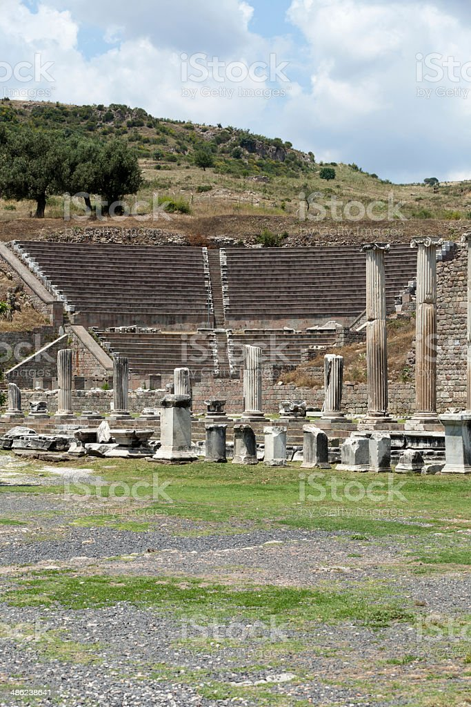 View to the Theater of Asklepion. Pergamum. royalty-free stock photo
