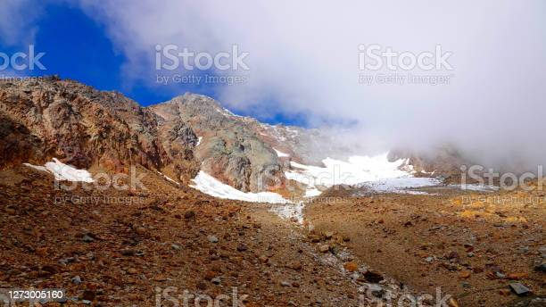 Photo of View to the top of the mountain Punta Taviela (3612 m high in the ski resort Val di Sole, Italy.) The remnants of snow and glacial ice are melting due to global warming, uncovering a rust-brown, Mars-like stone desert.