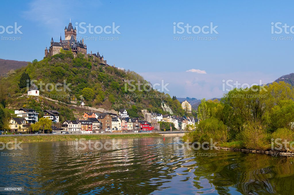 View to the town of Cochem, Germany. stock photo
