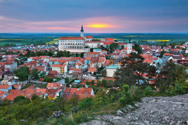 View to the town of Mikulov in South Moravia at sunset View to the town of Mikulov in South Moravia at sunset moravia stock pictures, royalty-free photos & images