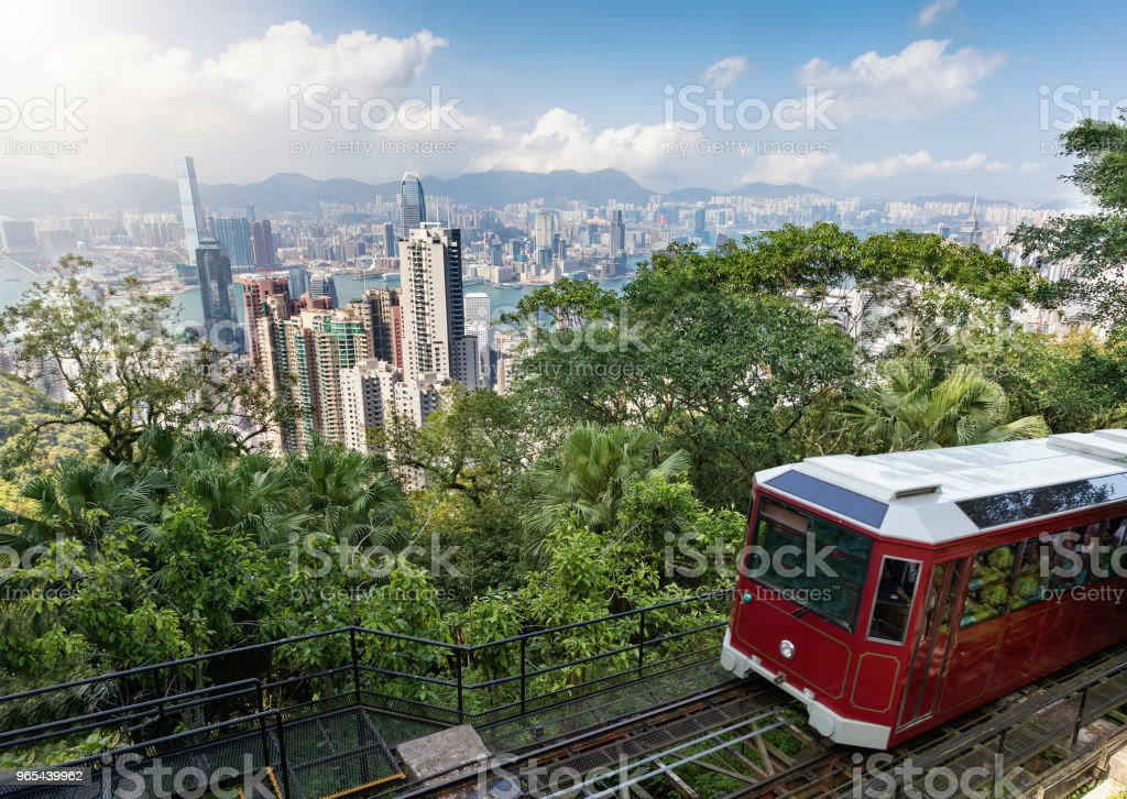 View to the Victoria Peak Tram and the skyline of Hong Kong royalty-free stock photo