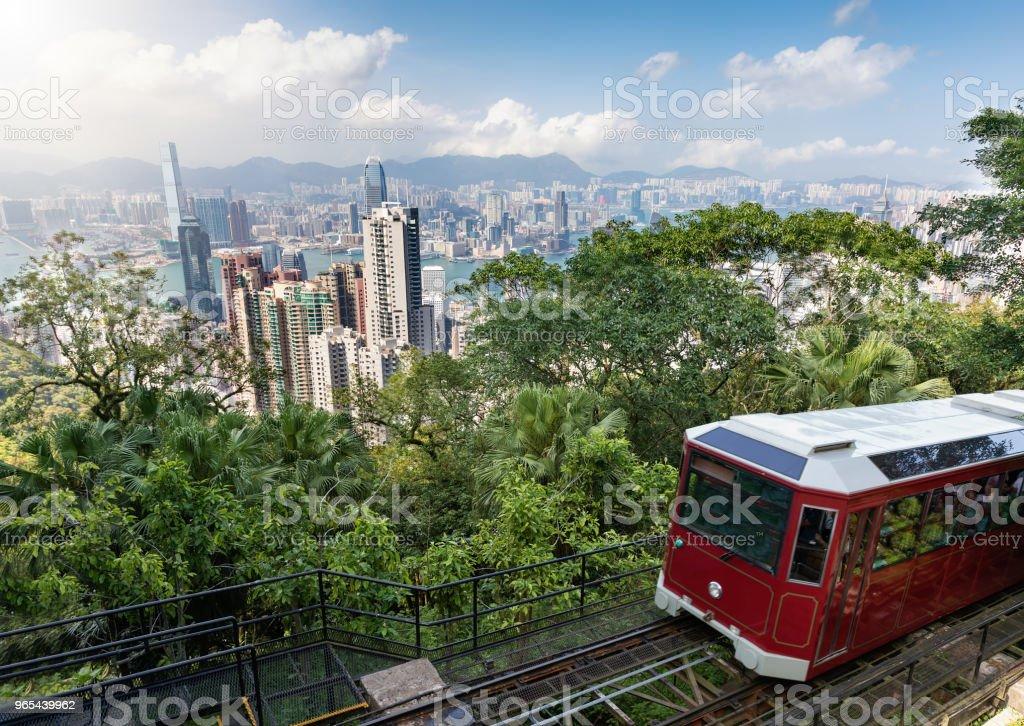 Blick auf den Victoria Peak Tram und die Skyline von Hong Kong - Lizenzfrei Alt Stock-Foto
