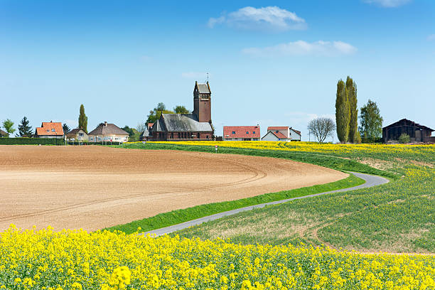View to Thiepval Village France View to Thiepval showing the German lines as a lighter patch in the ground. picardy stock pictures, royalty-free photos & images