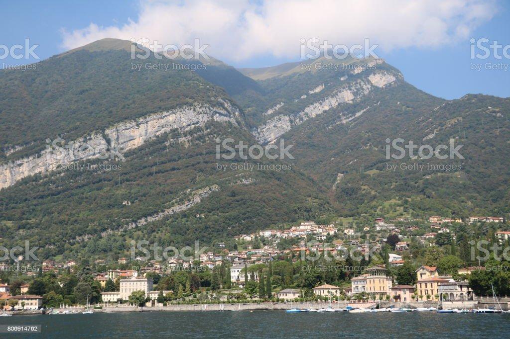 View to Tremezzo at Lake Como, Lombardy Italy stock photo
