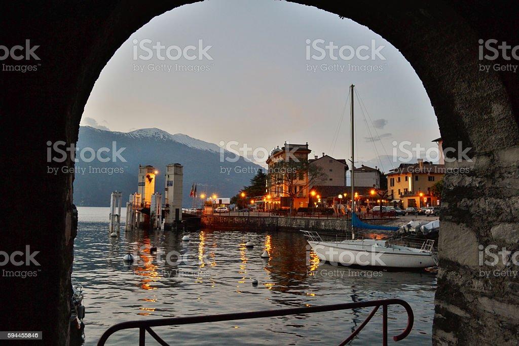 View to Varenna pier in winter. stock photo