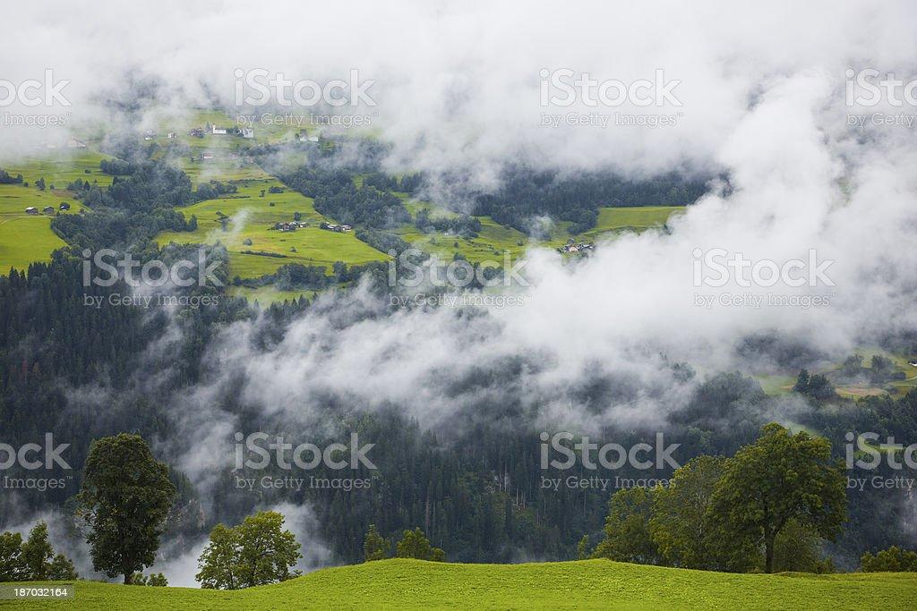 View to village Obersaxen in Switzerland stock photo