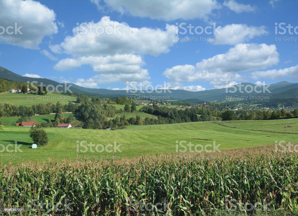 View to Village of Lam in Lamer Winkel,bavarian Forest,Germany stock photo