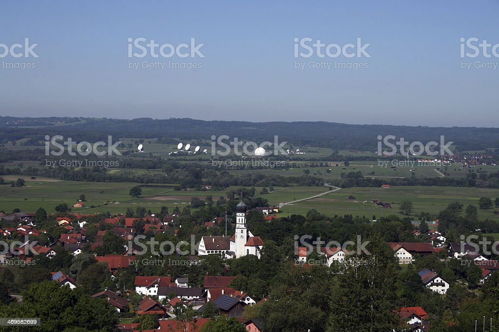 view to village pähl and the parabols of telekom stock photo