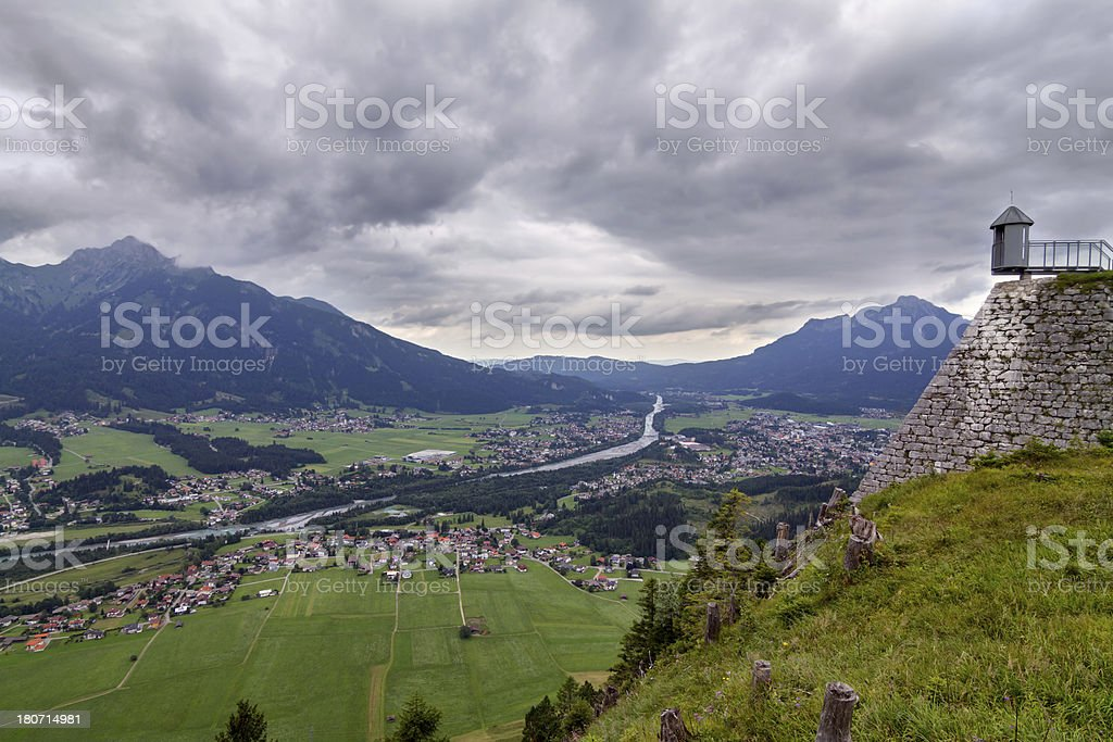View to village Reutte royalty-free stock photo