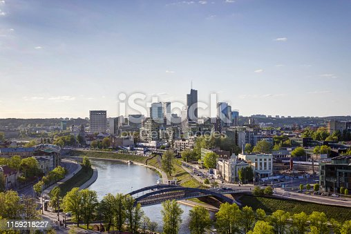 istock Vilnius, Lithuania - May 08, 2019: View to Vilnius city from the castle mountains. 1159218227