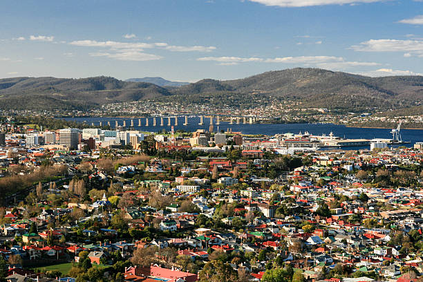 View toward Hobart CBD stock photo
