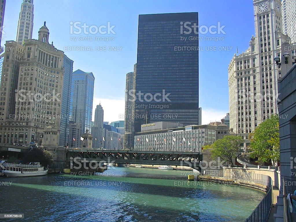 View toward old Sun-Times Building, Trump Hotel site stock photo