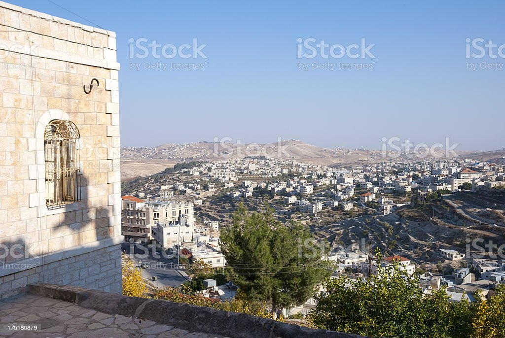 Town and landscape of Beit Sahour, Palestine royalty-free stock photo