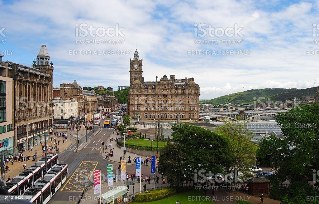 View towards Balmoral Hotel in Edinburgh. stock photo