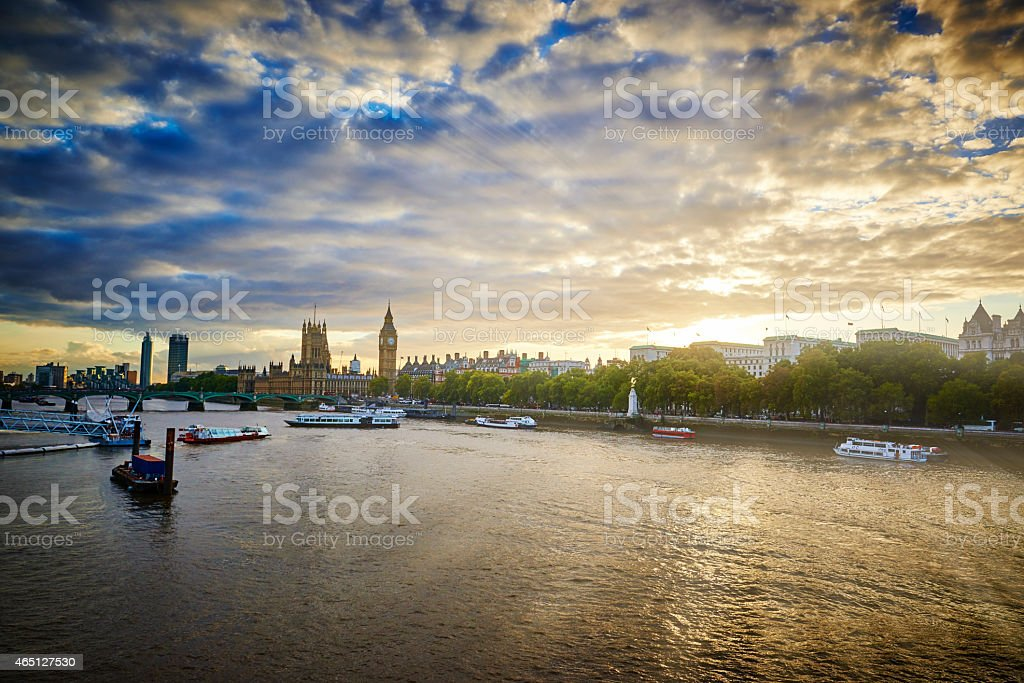 View towards Big Ben and the Houses of Parliament London stock photo
