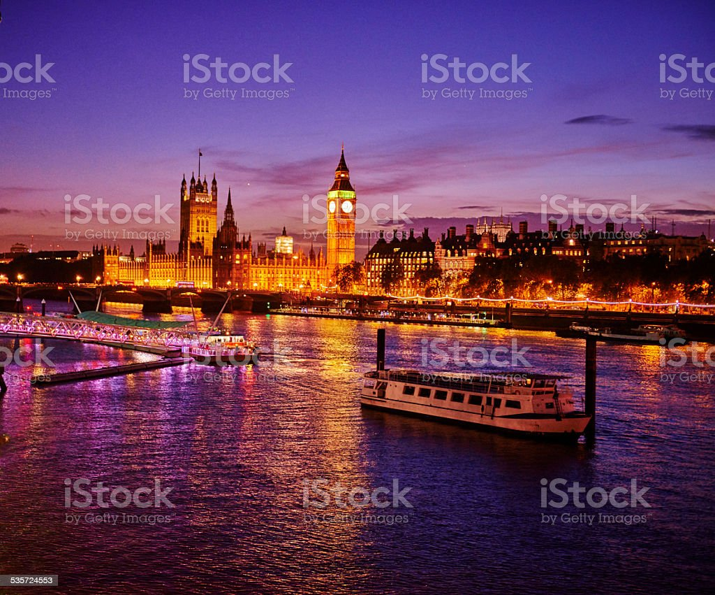 View towards big ben and the houses of parliament stock photo