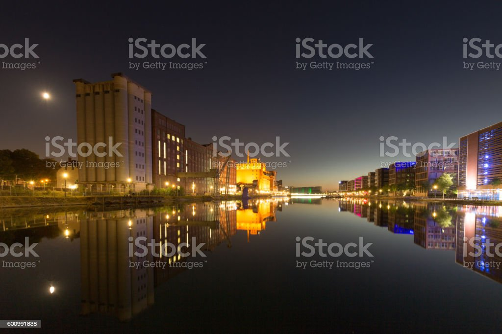 View towards Duisburg Inner Harbor / Germany stock photo