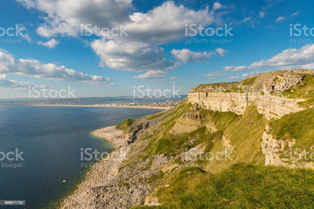 View towards Fortuneswell and Chesil Beach, Isle of Portland, Jurassic Coast, Dorset, UK stock photo
