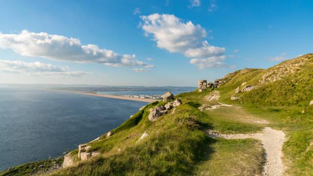 View towards Fortuneswell and Chesil Beach, Isle of Portland, Jurassic Coast, Dorset, UK stock photo