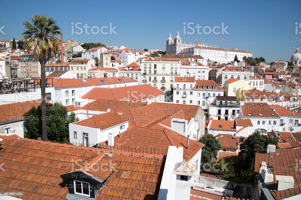 View towards Monastery of São Vicente de Fora stock photo