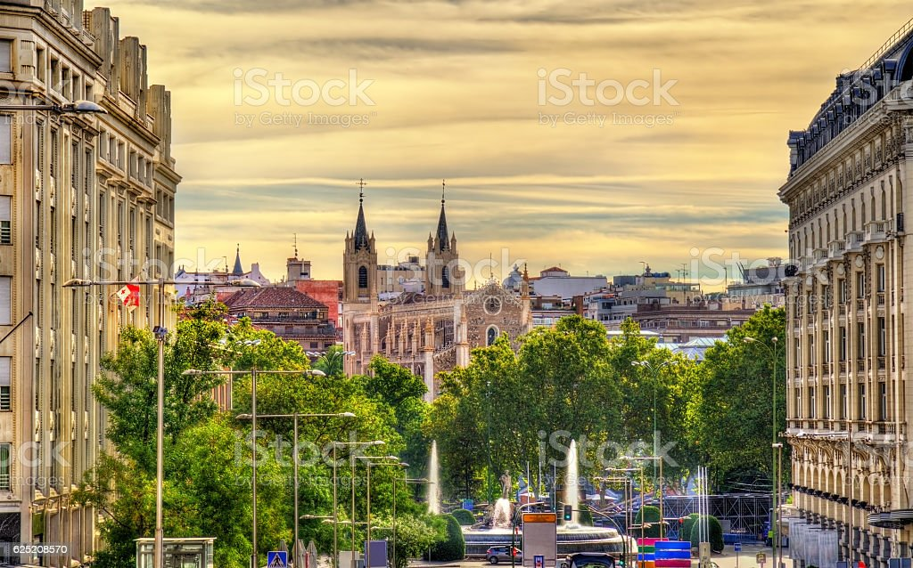 View towards San Jeronimo el Real Church in Madrid stock photo
