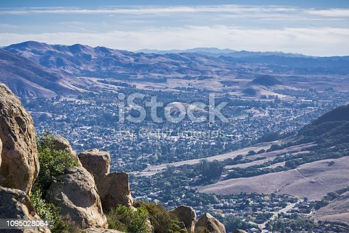 View towards San Luis Obispo as seen from the trail to Bishop Peak, California