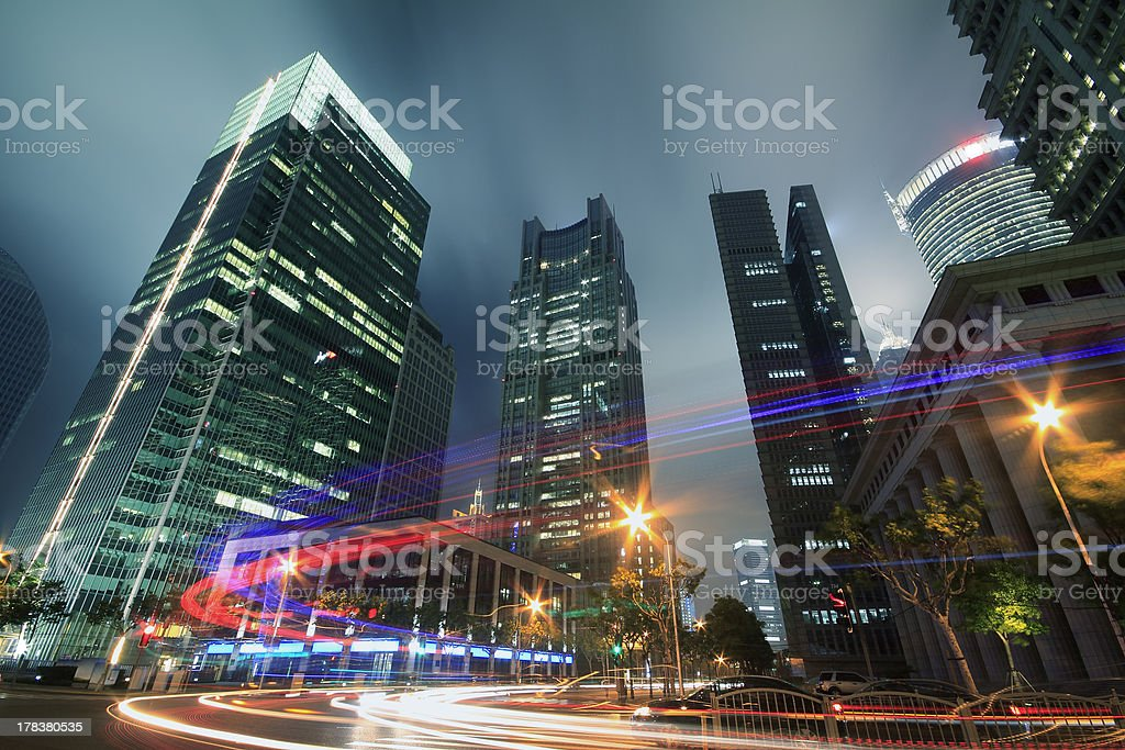 View traffic through modern city at night in shanghai royalty-free stock photo