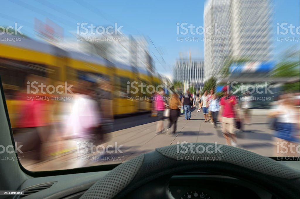 view trough a windshield of a car with  motion blur stock photo