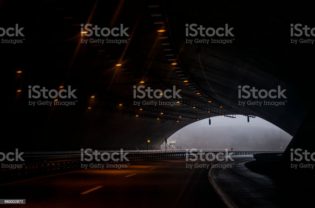 view under a tunnel on a highway. foto de stock royalty-free