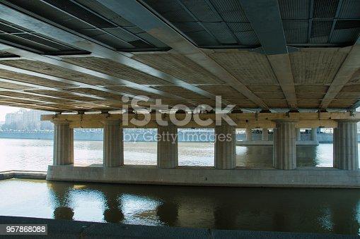 view under the bridge of city.
