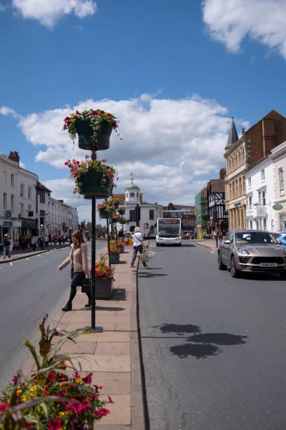 View up Bridge Street in Stratford-upon-Avon stock photo