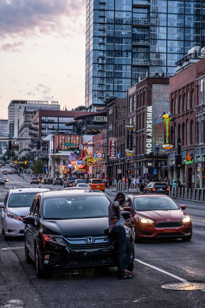 View up Broadway in Nashville stock photo